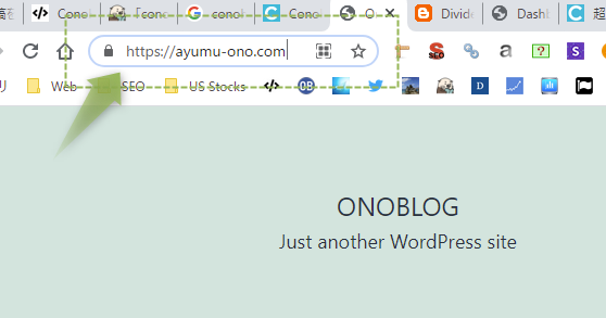 URLに鍵マークがかかっていて、httpsから始まるURL