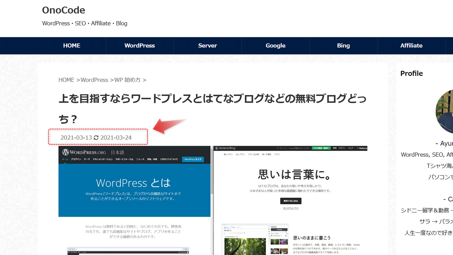 AFFINGER5 投稿記事一覧は投稿日、各記事には投稿日と更新日を表示させる方法
