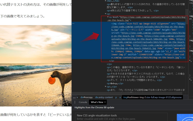 画像のソースコードを見るとalt属性を見ることができます