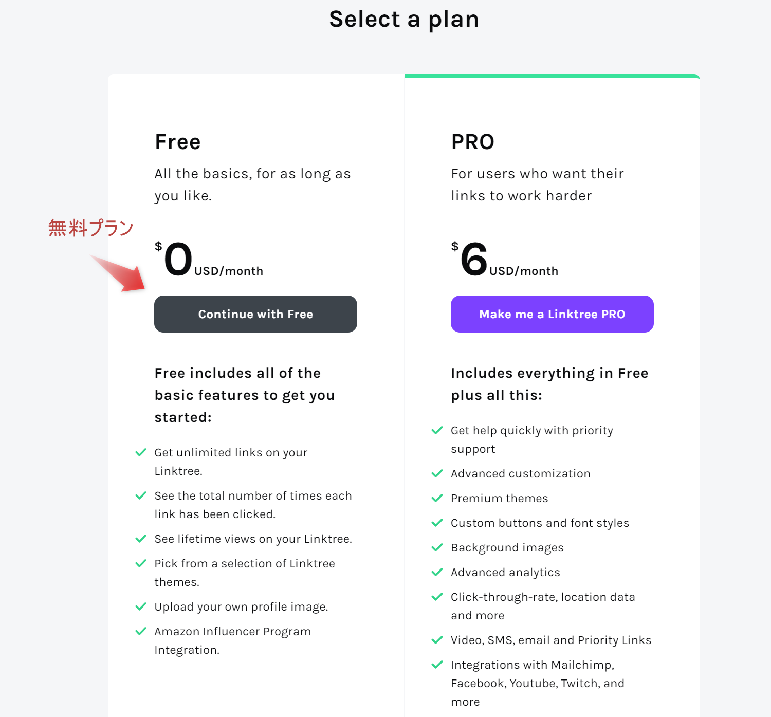 「continue with free」をクリックします