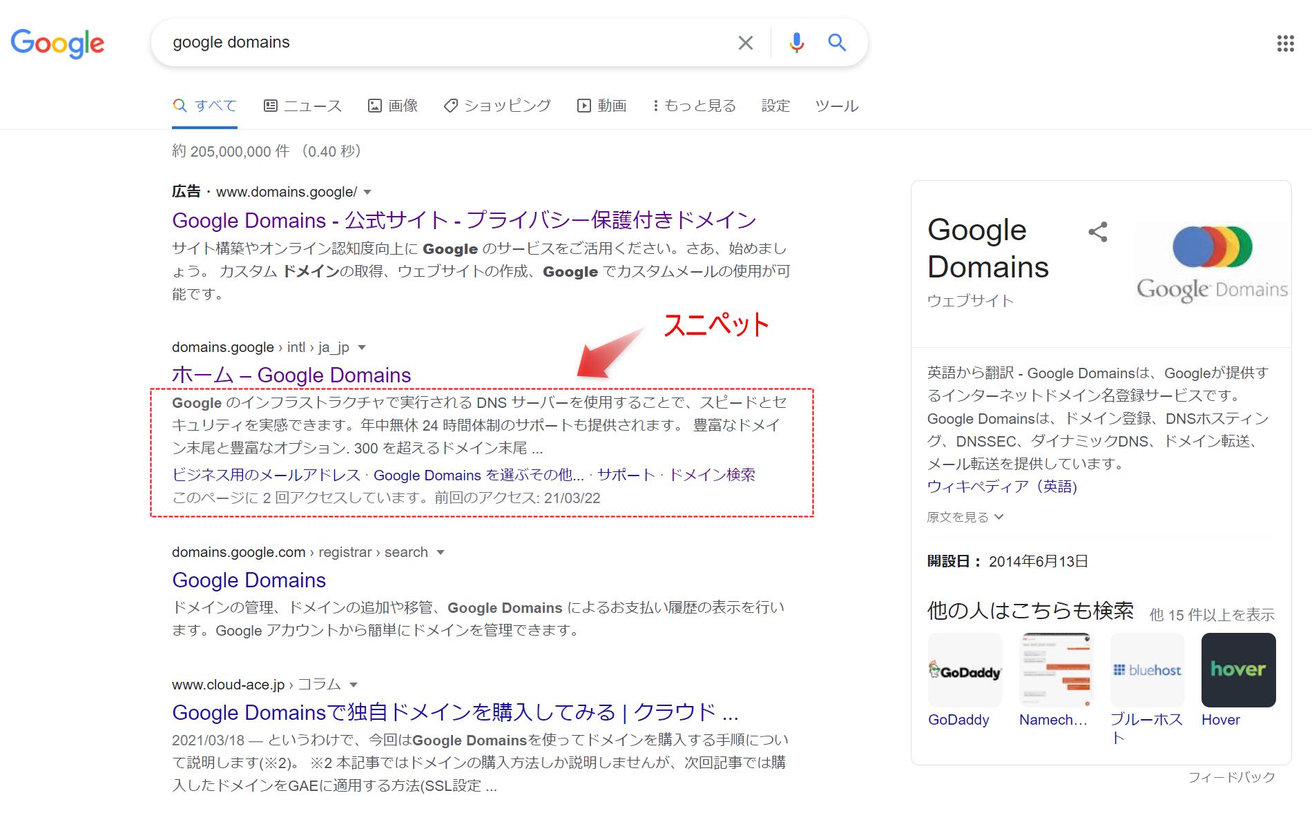 Google検索でのスニペット