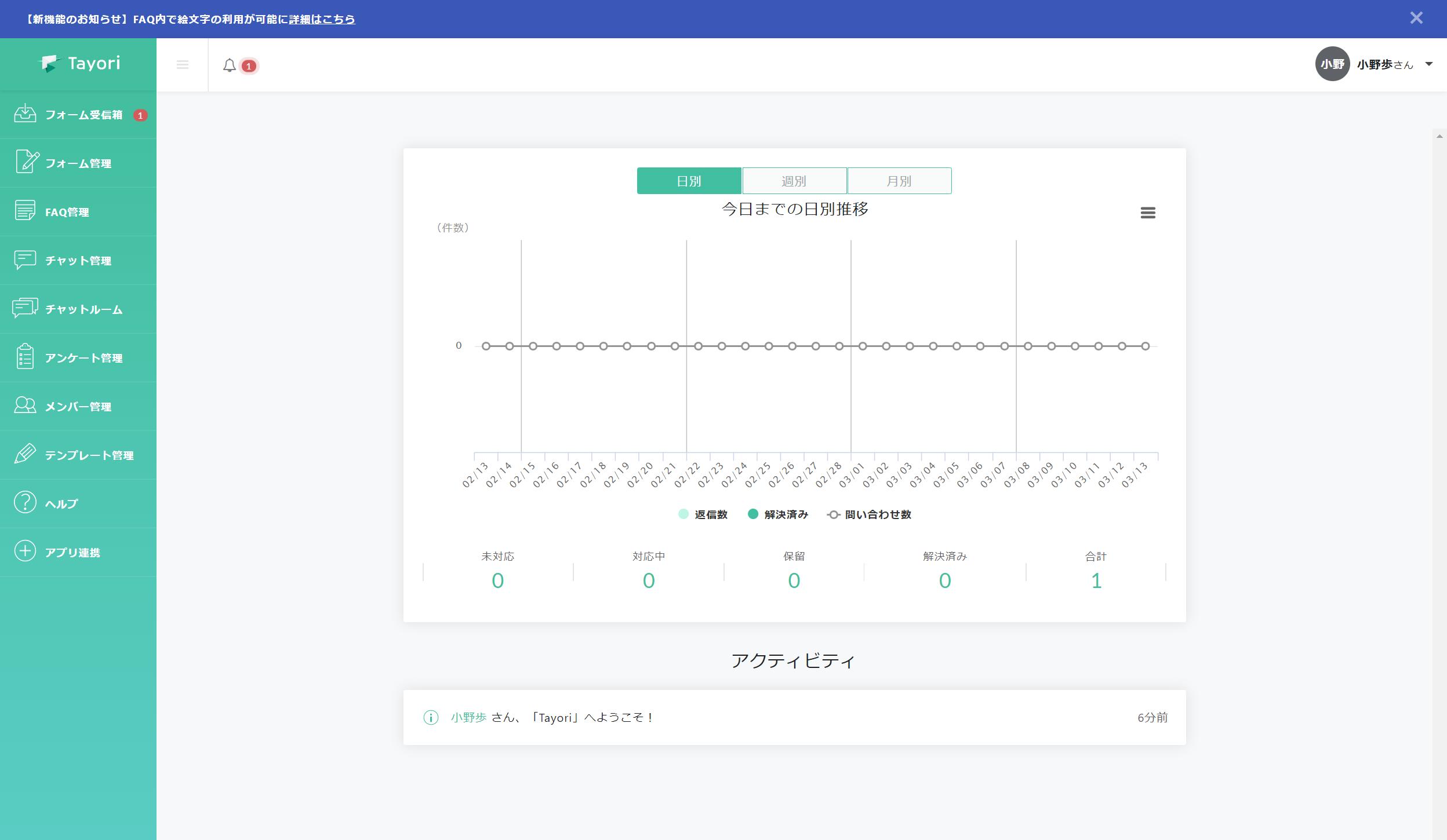 Tayoriにログインすると管理画面に入ります