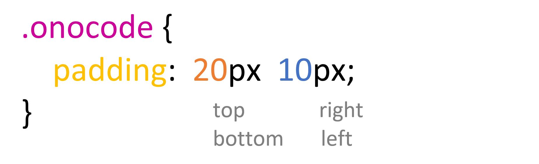 paddingやmarginで値を4つ書いた例